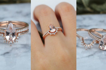 Beautiful Vintage Morganite Engagement Ring Set